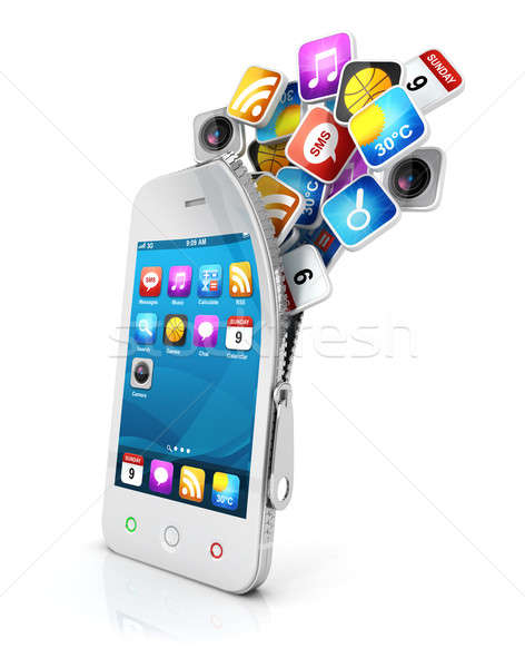 3d open smartphone Stock photo © 3dmask