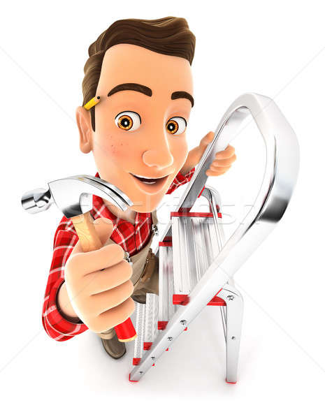 Stock photo: 3d handyman on stepladder with claw hammer