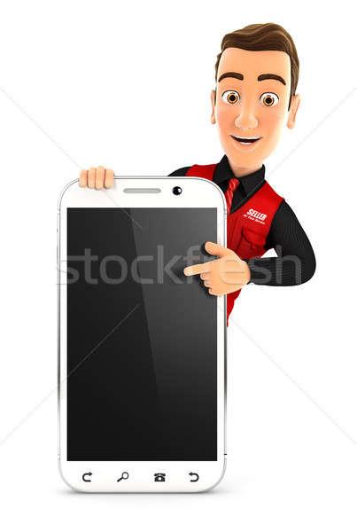 3D продавец указывая смартфон иллюстрация изолированный Сток-фото © 3dmask