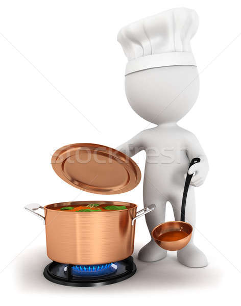 3d white people cooking Stock photo © 3dmask