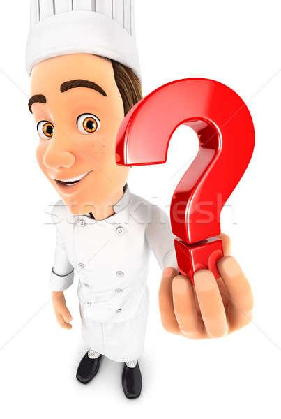 3D cabeça chef ponto de interrogação ícone Foto stock © 3dmask