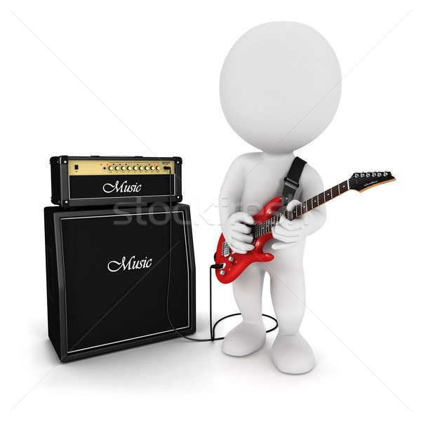 3d white people playing electric guitar Stock photo © 3dmask