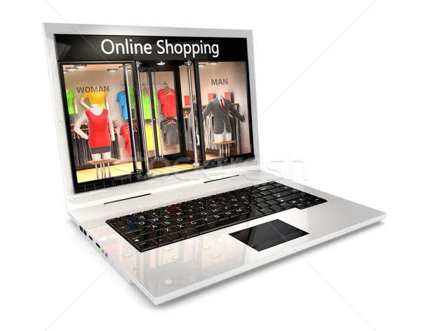 3D online vásárlás izolált fehér kép internet Stock fotó © 3dmask