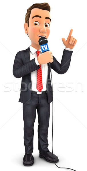 3d businessman reporter with microphone Stock photo © 3dmask