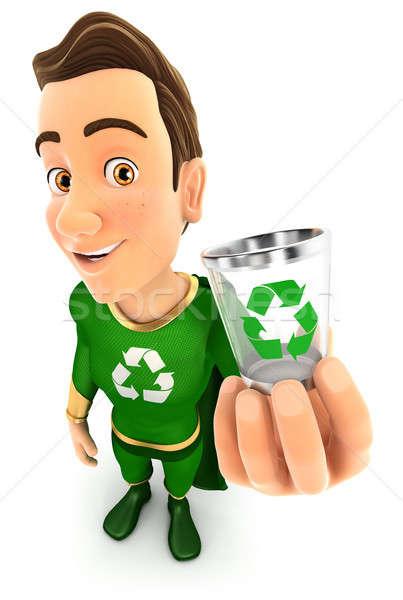 3D verde herói cesto de lixo ícone Foto stock © 3dmask