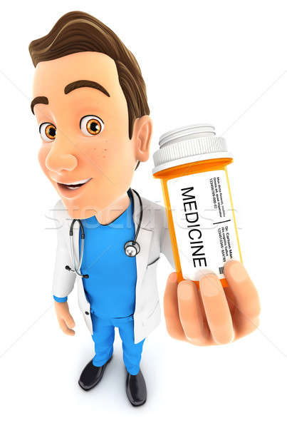 3d doctor holding medicine pills bottle Stock photo © 3dmask