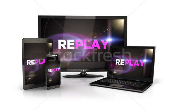 3d replay screen on computer devices Stock photo © 3dmask