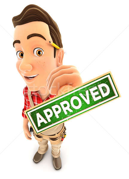 3d handyman approved stamp Stock photo © 3dmask