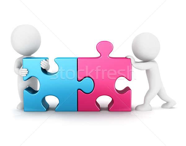 3D witte mensen puzzel verbinding geïsoleerd witte Stockfoto © 3dmask