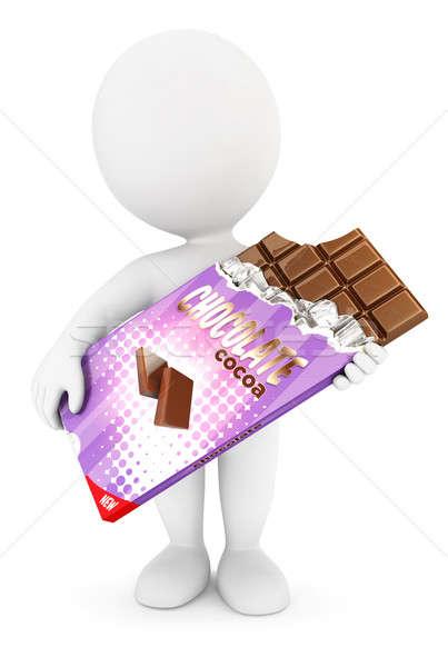3D белые люди Бар шоколадом изолированный белый Сток-фото © 3dmask