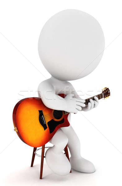 Stok fotoğraf: 3D · beyaz · insanlar · oynama · gitar · yalıtılmış · beyaz