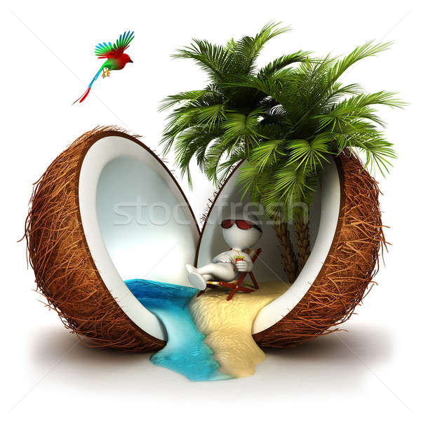 3d white people in a coconut paradise Stock photo © 3dmask