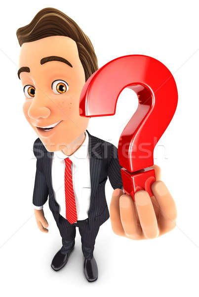 3d businessman holding a question mark icon Stock photo © 3dmask