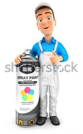 3D pintor em pé grande paint brush ilustração Foto stock © 3dmask