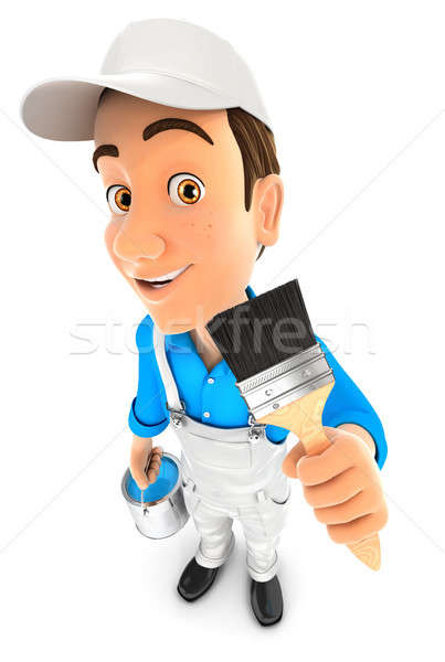 3d painter holding paint brush Stock photo © 3dmask