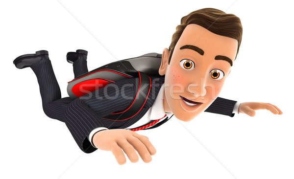 3D бизнесмен прыжки парашютом изолированный белый Сток-фото © 3dmask