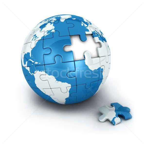 Kék Föld puzzle egyrészes ruha hiányzó izolált Stock fotó © 3dmask