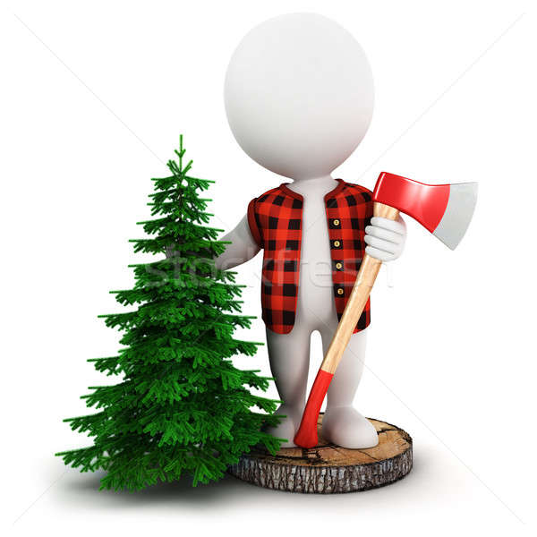 3d white people lumberjack Stock photo © 3dmask