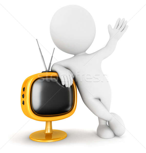 Stock photo: 3d white people retro television