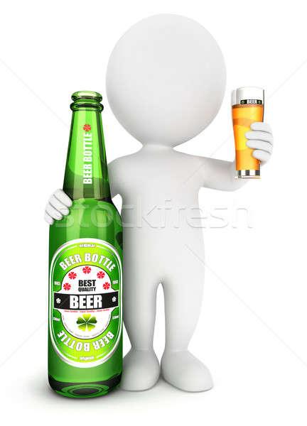 3D witte mensen bierfles geïsoleerd witte afbeelding Stockfoto © 3dmask