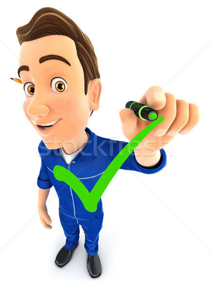 3d mechanic drawing positive check mark Stock photo © 3dmask