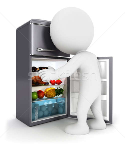 3d white people opens a fridge door Stock photo © 3dmask