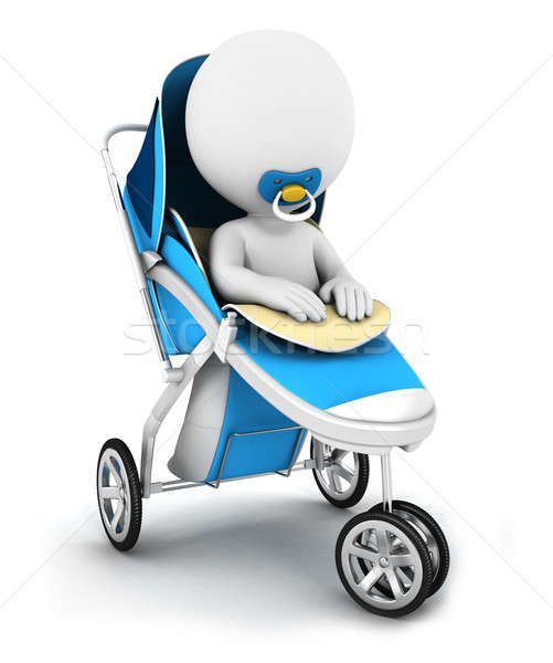 3d white people baby in a stroller Stock photo © 3dmask