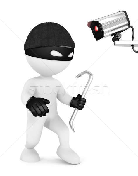 3D fehér emberek tolvaj biztonsági kamera izolált fehér Stock fotó © 3dmask