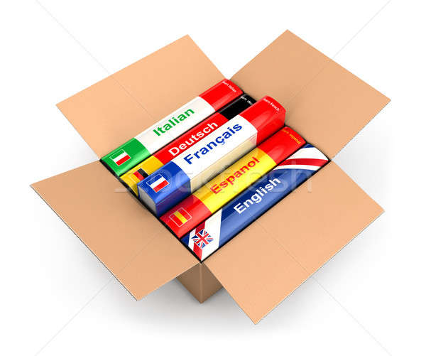 3d box with language books Stock photo © 3dmask