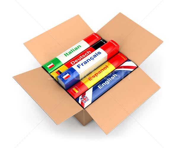 3D caixa linguagem livros isolado branco Foto stock © 3dmask