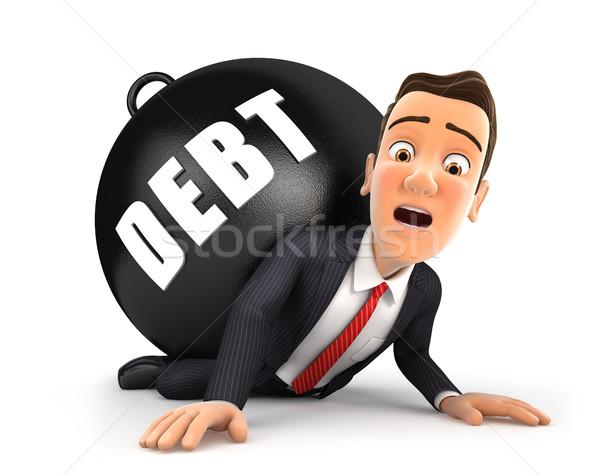 3D zakenman schuld illustratie geïsoleerd witte Stockfoto © 3dmask