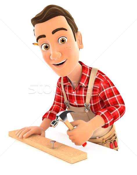 3d handyman nailing wooden plank with hammer Stock photo © 3dmask