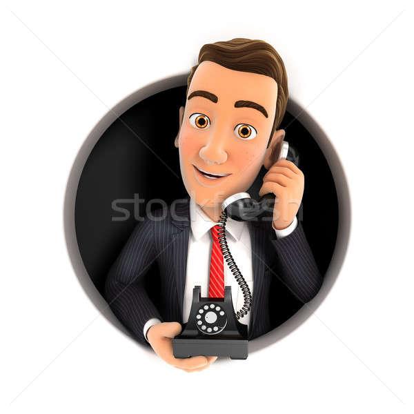 3d businessman making phone call inside circular hole Stock photo © 3dmask