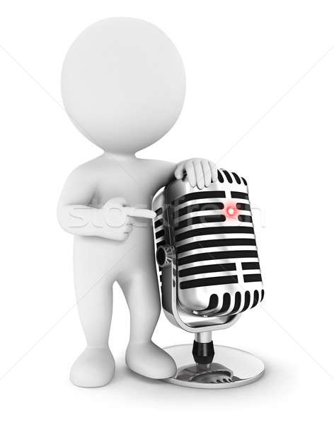 3d white people with a microphone Stock photo © 3dmask