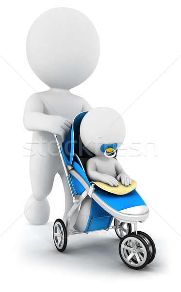 3d white people pushing a baby in a stroller Stock photo © 3dmask