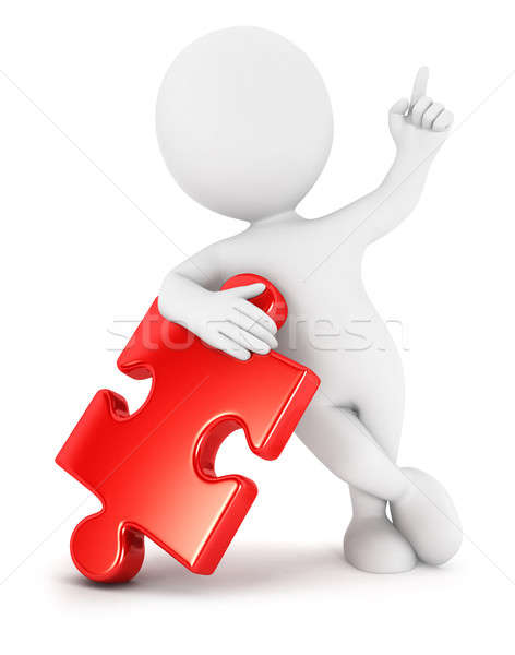 3d white people piece of puzzle Stock photo © 3dmask