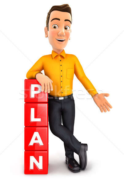 3d man leaning against cubes with the word plan Stock photo © 3dmask