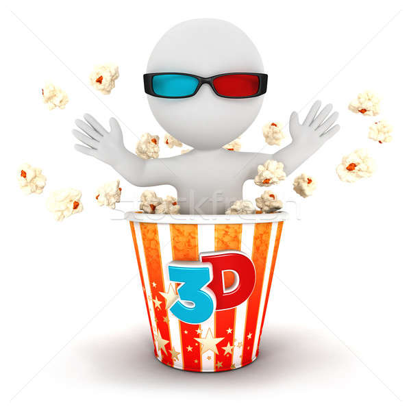 3D blancs sur popcorn isolé blanche Photo stock © 3dmask