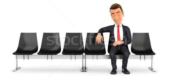 3D üzletember alszik váróterem illusztráció izolált Stock fotó © 3dmask