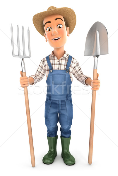 3d farmer with shovel and fork Stock photo © 3dmask