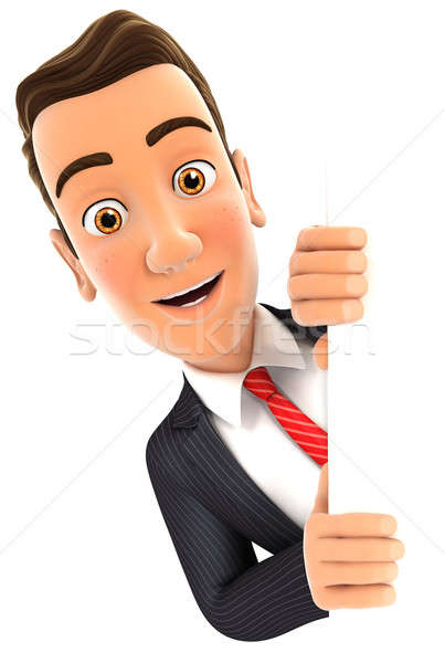 3d businessman peeping over blank wall Stock photo © 3dmask