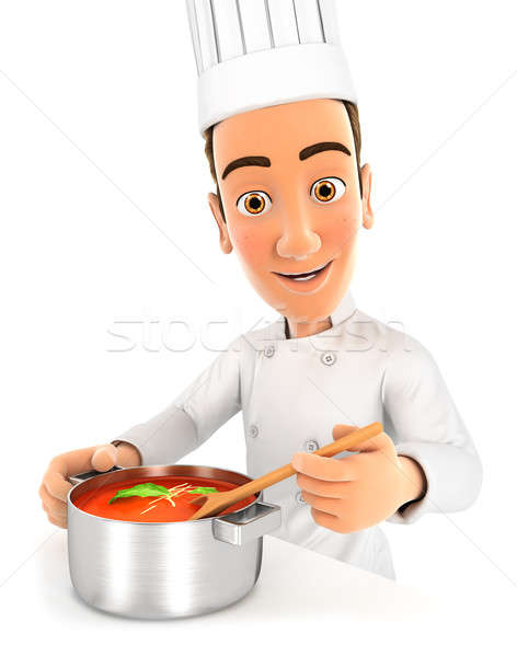 3d head chef cooking soup Stock photo © 3dmask