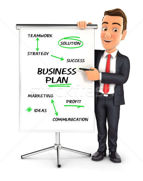 Stock photo: 3d businessman writing business plan on paperboard