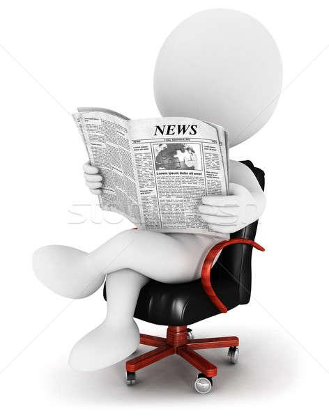 3d white people with a newspaper Stock photo © 3dmask