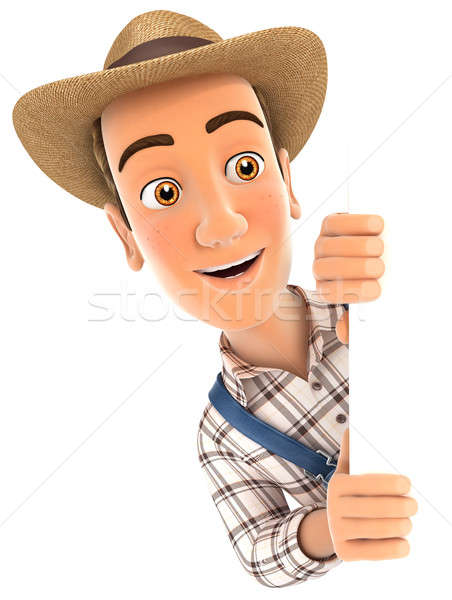 3d farmer peeping over blank wall Stock photo © 3dmask