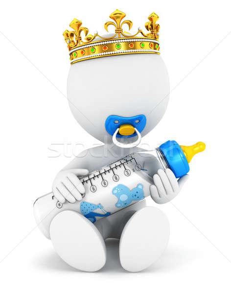 Stockfoto: 3D · witte · mensen · baby · koning · geïsoleerd · witte
