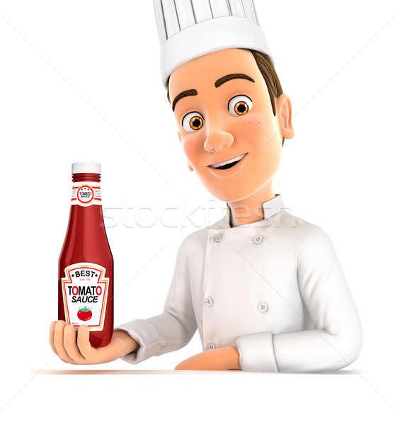 3D cabeça chef molho de tomate garrafa Foto stock © 3dmask