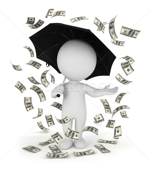 3d white people money rain with an umbrella Stock photo © 3dmask