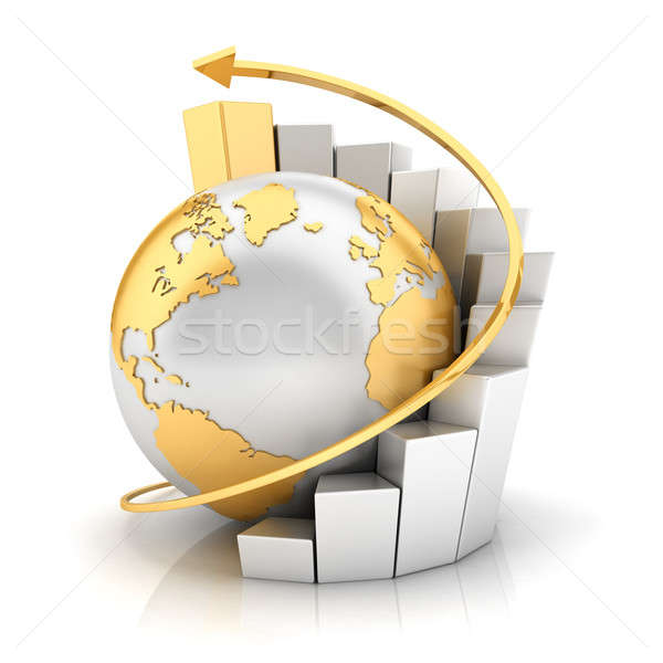 3d business earth with bar chart Stock photo © 3dmask