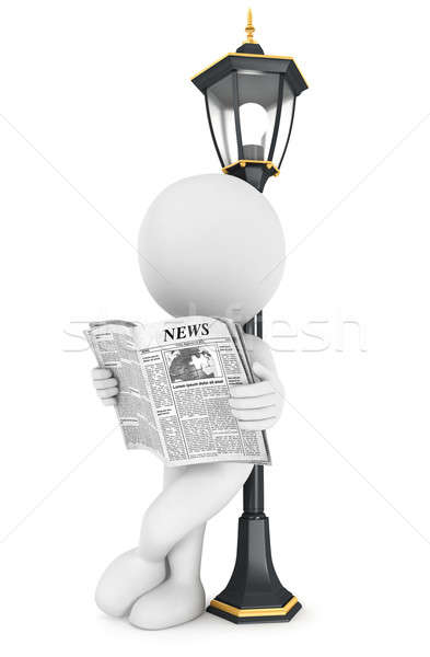 3d white people reading newspaper Stock photo © 3dmask